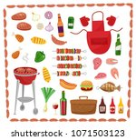 bbq party elements isolated on... | Shutterstock . vector #1071503123