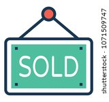 sold flat and line icon   | Shutterstock .eps vector #1071509747