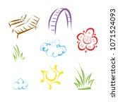 garden vector objects on white... | Shutterstock .eps vector #1071524093