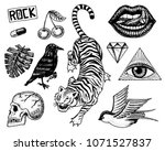 set of fashion patches. tattoo... | Shutterstock .eps vector #1071527837