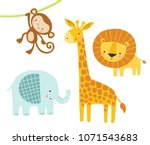 a set of cute jungle animals... | Shutterstock .eps vector #1071543683