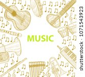 musical instruments composition.... | Shutterstock .eps vector #1071543923