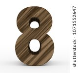 number 8 3d wooden isolated on... | Shutterstock . vector #1071552647