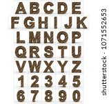 letters and numbers 3d wooden... | Shutterstock . vector #1071552653