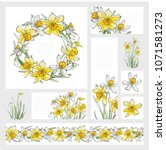 banners   daffodil flowers ... | Shutterstock .eps vector #1071581273