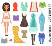 flat vector set of women s... | Shutterstock .eps vector #1071589577