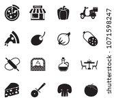 pizza icons. black flat design. ... | Shutterstock .eps vector #1071598247