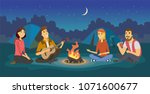 friends on a camp   cartoon... | Shutterstock .eps vector #1071600677