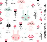 seamless pattern with bunny ... | Shutterstock .eps vector #1071607337