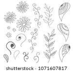 isolated set of vector drawn... | Shutterstock .eps vector #1071607817