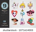 colorful patterned skull set.... | Shutterstock .eps vector #1071614003