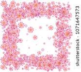 cherry blossom square frame or... | Shutterstock .eps vector #1071647573