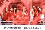 young football supporter fans... | Shutterstock . vector #1071651677
