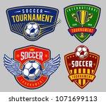 set of soccer emblems in colour ...   Shutterstock .eps vector #1071699113