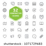 contact us icons. thin lines... | Shutterstock .eps vector #1071729683