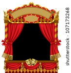 Vector image of the illuminated puppet show booth with theater masks, red curtain and signboards - stock vector