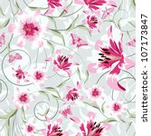 seamless vector floral pattern. ... | Shutterstock .eps vector #107173847