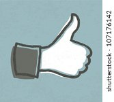 "Thumb up ""like"" hand symbol. Vector, EPS10. - stock vector"
