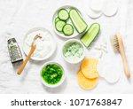 calming cucumber yogurt mask.... | Shutterstock . vector #1071763847
