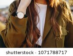 close up fashion details  young ... | Shutterstock . vector #1071788717