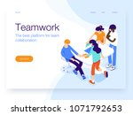 People work in a team and achieve the goal. Business processes and office situations. Landing page template. 3d vector isometric illustration. | Shutterstock vector #1071792653