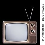 Small photo of Old fashioned television with real static