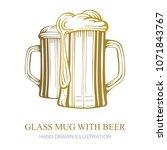 glass beer mugs hand drawn... | Shutterstock .eps vector #1071843767