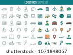 logistics icons set. delivery... | Shutterstock .eps vector #1071848057
