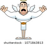 a cartoon angel looking scared. | Shutterstock .eps vector #1071863813