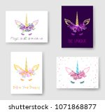 unicorn horn in flowers and... | Shutterstock .eps vector #1071868877
