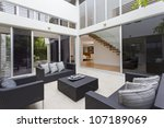 Luxury home interior with outdoor entertaining area - stock photo