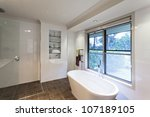 Modern bathroom in stylish Australian house - stock photo