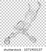 simple doodle baby stroller  at ... | Shutterstock .eps vector #1071903137