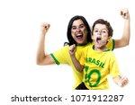 brazilian family cheering... | Shutterstock . vector #1071912287