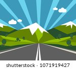 road to green nature mountain... | Shutterstock .eps vector #1071919427