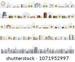 vector city illustration set | Shutterstock .eps vector #1071952997