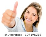 happy woman with thumbs up  ... | Shutterstock . vector #107196293