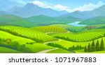landscape view of green meadows ... | Shutterstock .eps vector #1071967883