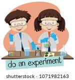scientist doing experiment in... | Shutterstock .eps vector #1071982163