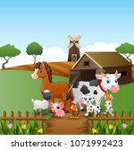 farm animals happy in front of... | Shutterstock .eps vector #1071992423