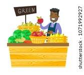 young african american worker...   Shutterstock .eps vector #1071992927