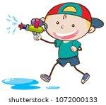 Doodle Kid Playing Water Gun...