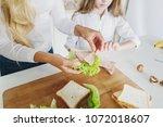 mother preparing sandwich for... | Shutterstock . vector #1072018607