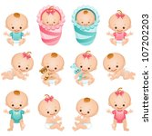 newborn baby icon set | Shutterstock .eps vector #107202203