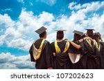 back of chinese graduates with... | Shutterstock . vector #107202623