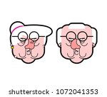 angry grandfather and... | Shutterstock .eps vector #1072041353