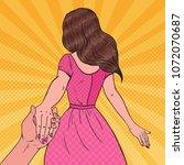 pop art brunette woman holding... | Shutterstock .eps vector #1072070687