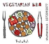 falafel vegetarian bbq grill ...   Shutterstock .eps vector #1072092077