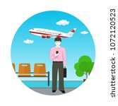 waiting room at the airport... | Shutterstock . vector #1072120523