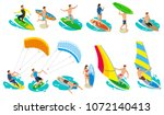 surfing isometric icons with... | Shutterstock .eps vector #1072140413